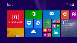 Windows 8 menu with SlingPlayer app