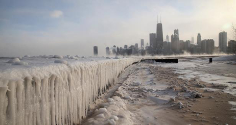 North Avenue Beach, Lake Michigan, Chicago, Polar Vortex