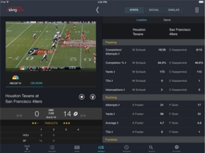 SlingPlayer for iPad - Sports Stats Screen