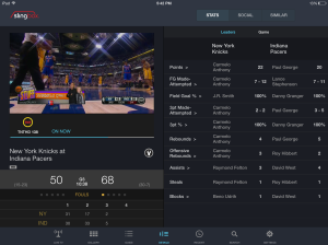 SlingPlayer for iPad sports info
